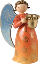 553/4Rorange, Richly Painted Angel, Large, with Candle Holder, Orange