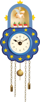5202/5, Wall Clock, Blue, with Suspended Angel