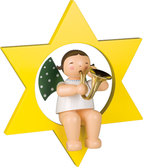 772/17, Angel with French Horn, in Star, Large