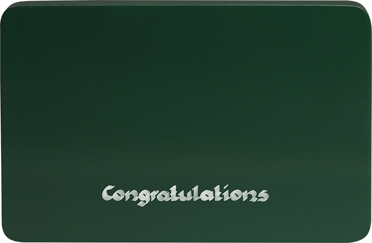 Inscribed base, green, Congratulations""
