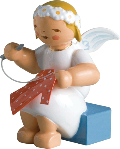 Marguerite Angel, Sitting, with Knitting Needle and Thread