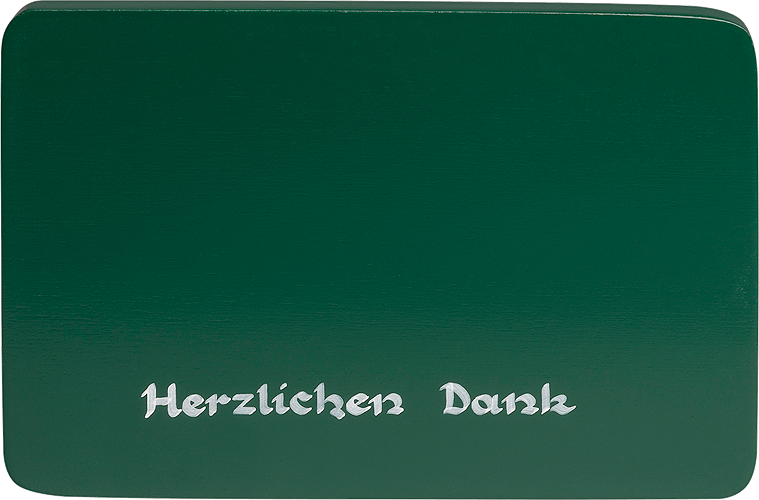 "Inscribed base, green, ""Herzlichen Dank"" (Many thanks)"