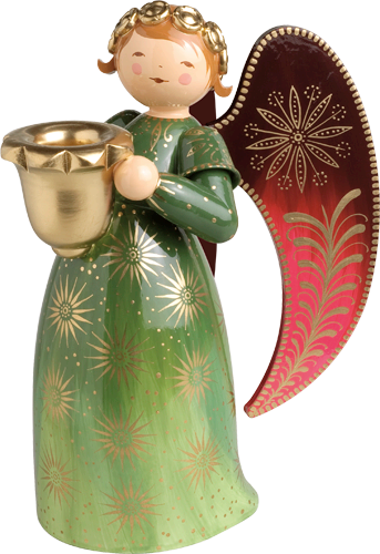 Richly Painted Angel, Large, with Candle Holder, Green