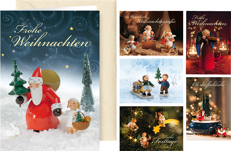 "Greeting Cards ""Heavenly Christmas Greetings"", with envelope, 6 cards, 6 designs"