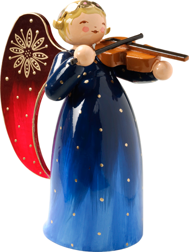 Richly Painted Angel, with Violin