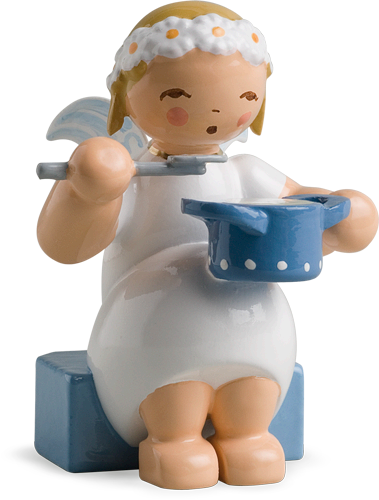 Marguerite Angel, Sitting, with Saucepan