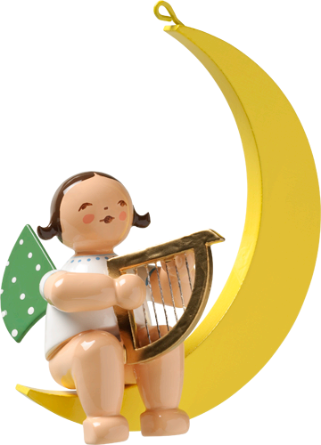 Angel with Harp, in Moon