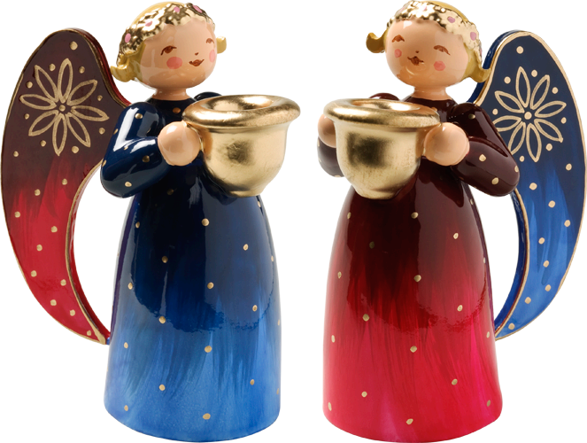 Richly Painted Angel, Small, with Candle Holder