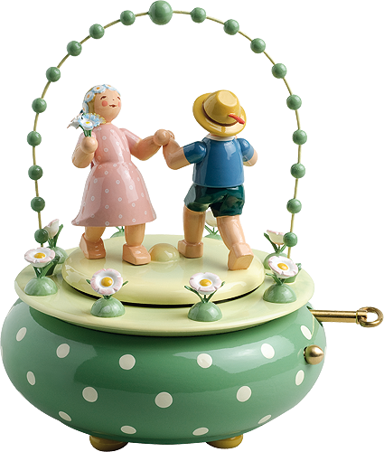 "Music Box ""Two Dancers in the Garden"", with 36-note Musical Movement"