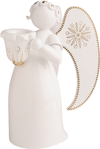Angel, white, golden painted, with Candle Holder
