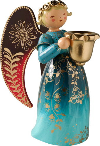 Richly Painted Angel, Large, with Candle Holder, Blue