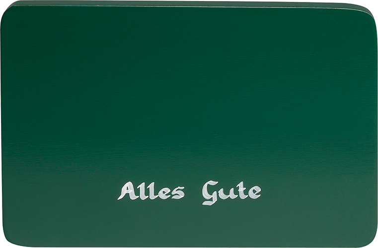 "Inscribed base, green, ""Alles Gute"" (All the best)"
